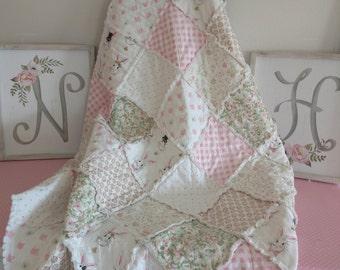 "Handmade Baby Rag Quilt/Blanket/Riley Blake Wonderland in Cream/Crib/Baby/35""x41"""