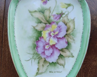 "Hand Painted - Artist Signed ""Alice Mitchell"" - Decorative Hanging Wall Plate - Pink Flowers with Green and Gold Edging - Unidentified Mark"