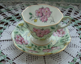 "Foley ""Springdale"" - Bone China England - Vintage Tea Cup and Saucer - Pink and Yellow Flowers on a Green Background with Gold Trim"