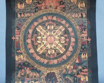 Tibetan Thangka Painting Mandala, Buddhist Painting on Cotton, Ceremonial Meditation Himalayan Art, FREE SHIPPING