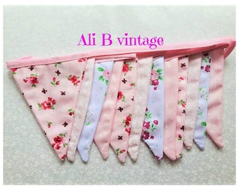 bunting Pink vintage style bunting double sided bunting  floral bunting pink fabric bunting  nursery bunting garden decor nursery bunting
