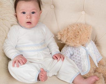 Harrison Christening Jumpsuit, Boys Baptism Outfit, Baby Blessing Outfit