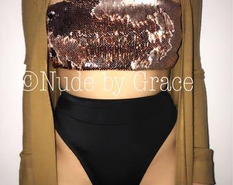 15% off, rose gold bandeau bikini top, bikini, sexy bikini, beachwear, woman clothing, bathingsuit, swimwear, festival bikini, crop top