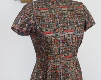 Vintage 1960's Handmade Asian Inspired Dress with Mandarin Collar