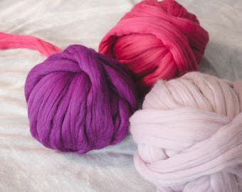 Big super bulky yarn - Giant merino wool roving super bulky chunky huge knitting yarn knit - For arm knitting