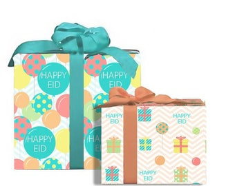 "Happy Eid"" Colorful Gift Wrap Eid Decoration"