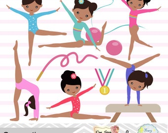 Girls Gymnastics Digital Clipart, Gymnastic Girl Clip Art, Gymnastics Digital Clip Art, Digital Gymnast Girl Clip Art, Instant Download 0204
