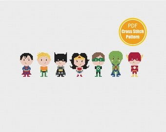 Justice League of America Cross Stitch Pattern - PDF INstant Download - Super Heroes Cross Stitch