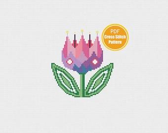 Retro Tulip Flower Cross stitch - Instant Download - PDF - Modern Cross stitch Pattern