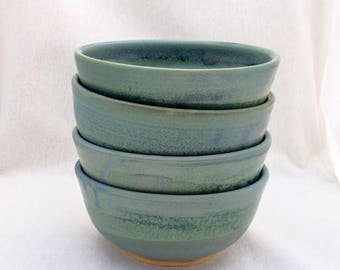 Set of four (4) pottery bowls, matte green and blue glaze (16 oz), wheel-thrown bowls, glazed bowls, pottery bowls, 16 ounce bowls, bowl set