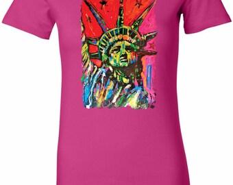 Ladies Shirt Statue of Liberty Painting Longer Length Tee T-Shirt 20721NBT2-6004