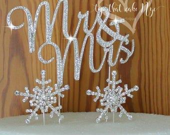 Winter wonderland Wedding cake Topper in Crystal rhinestones Mr & Mrs in silver Snow Flakes cake decoration