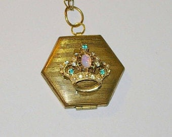 Handmade Upcycled Locket with Rhinestones and Opal