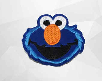 Cookie Monster Sesame Iron on Patch(M2) - Cookie Sesame Character Applique Embroidered Iron on Patch#2 - Size 7.0(W)x6.1(H) cm