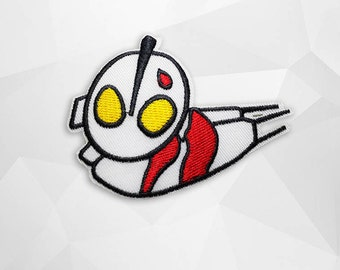 Ultraman Iron on Patch (L2)#T2- Ultraman Cartoon Applique Embroidered Iron on Patch- Size 6.5x8.7 cm