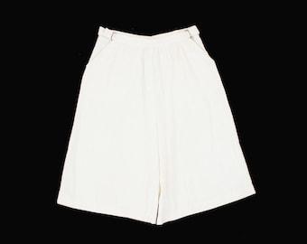 Vintage White Linen Culottes - Skort - High Waist - Adjustable Waist - Calm Diggers - Shorts - Minimal - Women's Medium