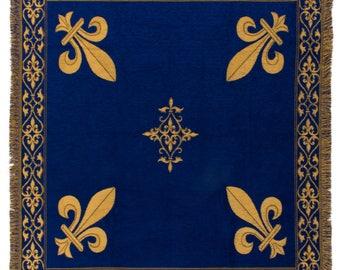 Fleur de Lis tapestry throw - French Decor Throw - 56x56 Belgian Tapestry Throw -  blue chenille throw blanket - TT-07103/33