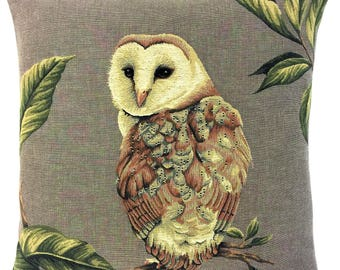 Barn Owl Pillow Cover - Owl Lover Gift - Owl Decor - Barn Owl Throw Pillow - 18x18 belgian tapestry cushion - Barn Owl Gobelin Cushion
