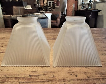 Industrial Pair of Vintage Light Shades, Ribbed Frosted, Holophane Pleated Square Fluted White Glass