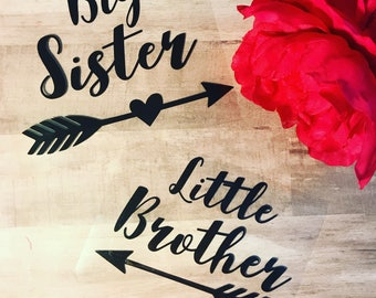 Big Sister/Brother Little Brother/Sister Iron on Vinyl Decals