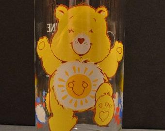Vintage Pizza Hut Care Bear Glass - Funshine Bear