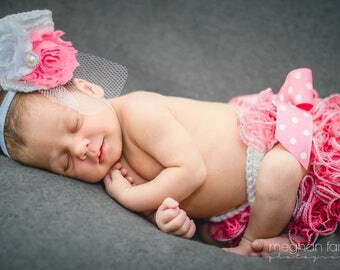Baby Girl Outfit With Headband - Baby Girl Clothes - Tea Party Hat - Newborn Photo Prop - New Baby Gift - Coming Home Outfit - Baby Shower