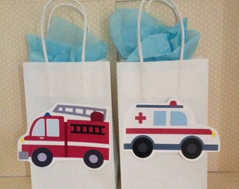 Emergency Vehicles, Ambulance, Fire Engine, Police Car Favor Party Bags with Handles - Set of 10