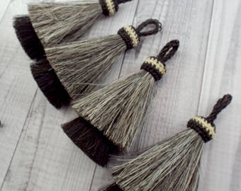 NEW color, Horsehair tassel,  Double layer, horsehair tassel, 4 inch x-thick, horsehair tassel, boho tassel, necklace, gray-black tassel