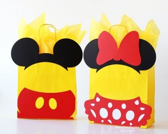 Mickey Mouse favor bag and Minnie Mouse treat bags - Disney inspired decorations for Clubhouse party Twins birthday decorations Red Yellow