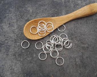 8 mm, double rings, open jump rings, silver Metal rings
