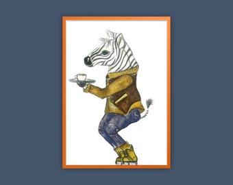 a4 Quirky Zebra Print, Zebra Hipster Print, Zebra Art Print, Quirky Animal Print, Quirky Zebra Art, Hipster Zebra Art, Zebra Illustration