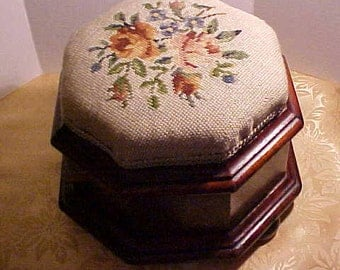 Ladies Slipper Foot Stool.  Eight sided wood appears to be Mahogany, with a Needle Point Top. 1890 to about 1910. FREE shipping in the USA