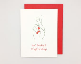 Getting Through the Holiday Card Set // boxed holiday card set, letterpress christmas cards, funny christmas card, funny holiday card