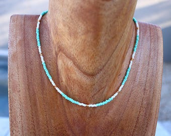 Teal, White, and Gold Choker // Gold Beaded Choker Necklace // Patterned Choker / Seed Bead Choker / Tribal Choker / Teal Choker / Turquoise