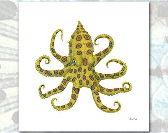 POP ART Blue-Ringed Octopus by Flick Ford, natural history art, crab painting, bright colors, sea creature, cephalopod, Octopussy