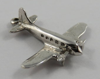 Twin Prop Cargo Plane Sterling Silver Vintage Charm For Bracelet