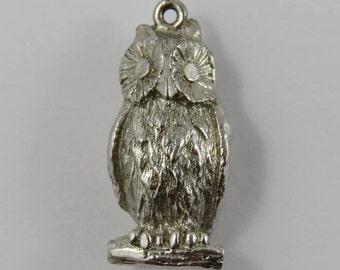 Owl Sterling Silver Vintage Charm For Bracelet