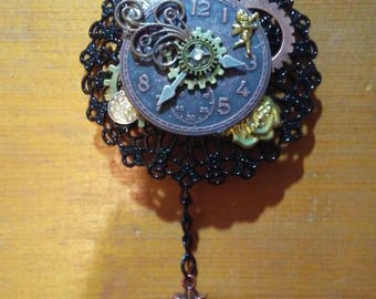 Steampunk Key of Time brooch