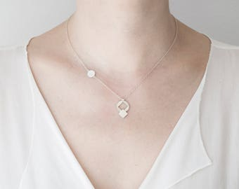 Geometric necklace, silver necklace, short necklace, geometric pendant, small pendant, circle pendant, delicate chain, handmade necklace