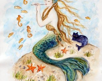 Mermaid card, 5x7, Mermaid art, beach art, from Original painting by Tina Obrien,