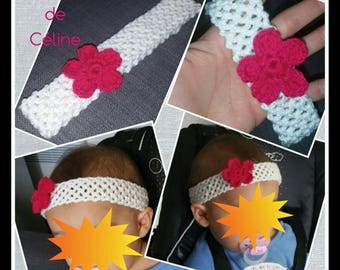 Crochet - elastic headband hair band - Flower - child baby birth gift