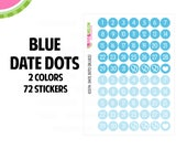 Blue Date Dot Stickers   2 Colors   72 Kiss Cut Stickers   .35 inch   Small Planners, Inserts   IC074