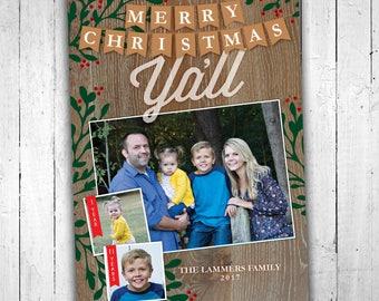 Printable Custom Photo Merry Christmas Ya'll Christmas Card