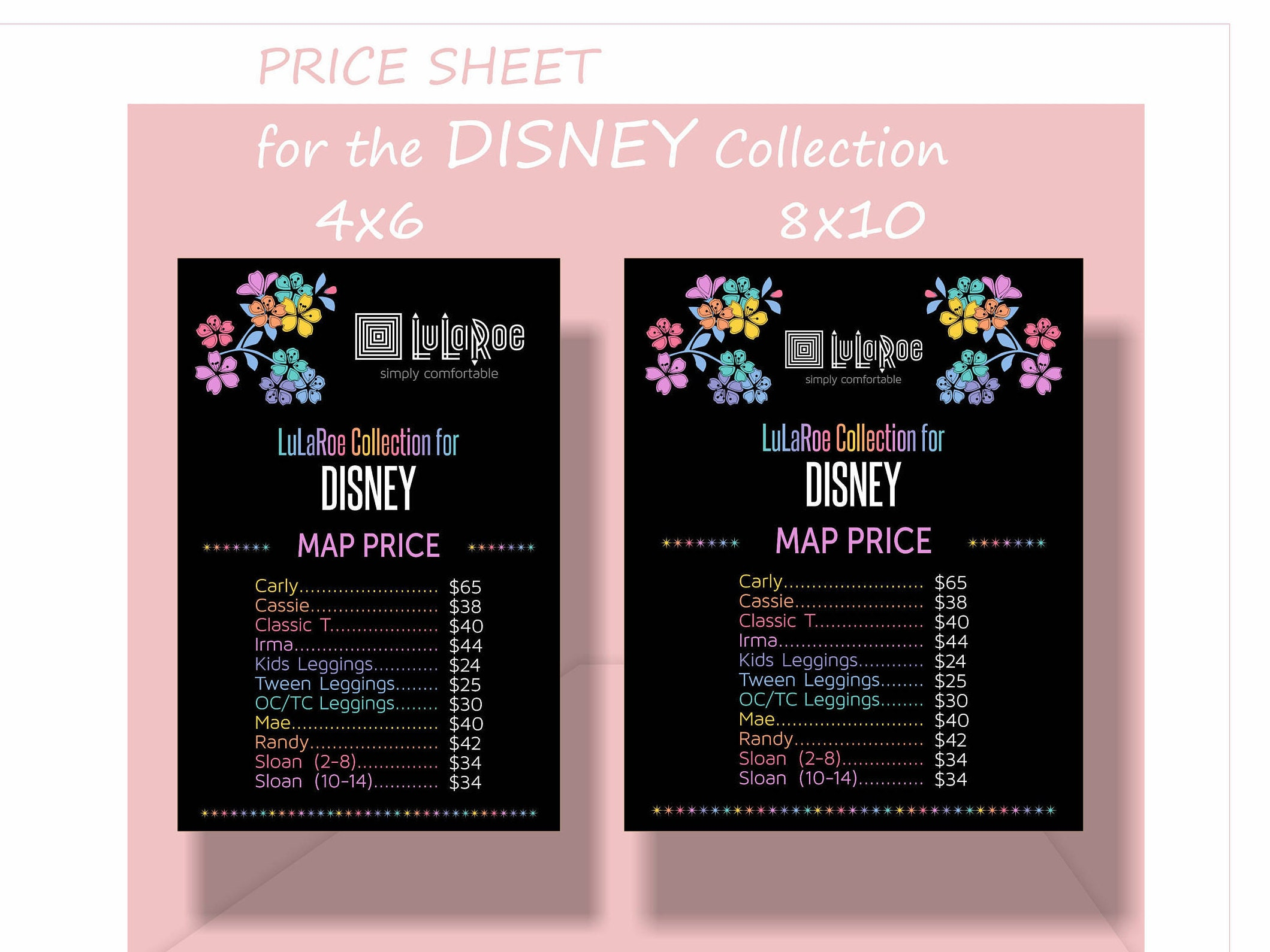 LLR Price Sheet For The DISNEY Collection Two Sizes X - Lularoe us map
