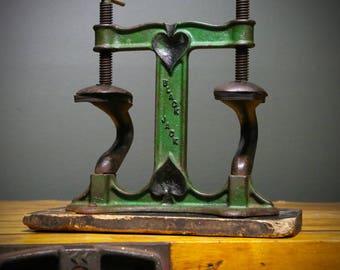 Antique Cast Iron Base Black Jack Spades Table Top Shoe Press Boot Cobbler Vintage Industrial Mercantile Tool Gambling Casino Cards Display