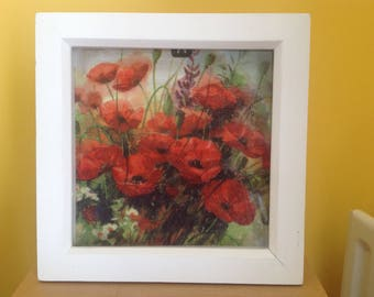 Decoupaged poppy print box frame
