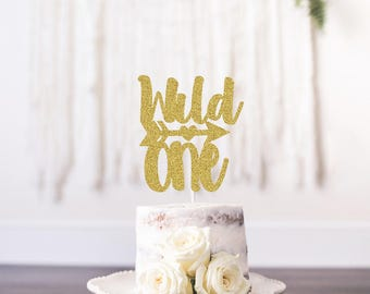 Wild One Birthday Cake Topper, First Birthday Topper, Custom Topper, Boho Cake Topper, Tribal Cake Topper, Glitter Cake Tooper, Gold
