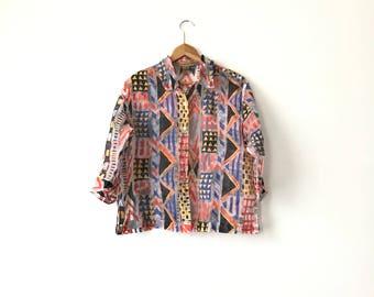 TRANSPARENT PATTERN SHIRT // 90s // Womens Large  // Pattern Shirt // Sheer // Sheer Shirt // Pattern Shirt // Transparent // Womens // 90s
