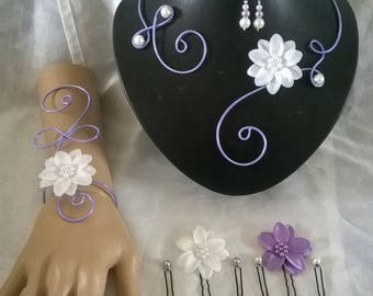 bridal set wedding purple aluminum wire jewelry set / lilac flower in white satin / purple wedding ceremonies, parties