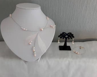 Bridal wedding jewelry set parure necklace earrings bracelet Silver 925 pink / ivory or white feathers swarovski crystal